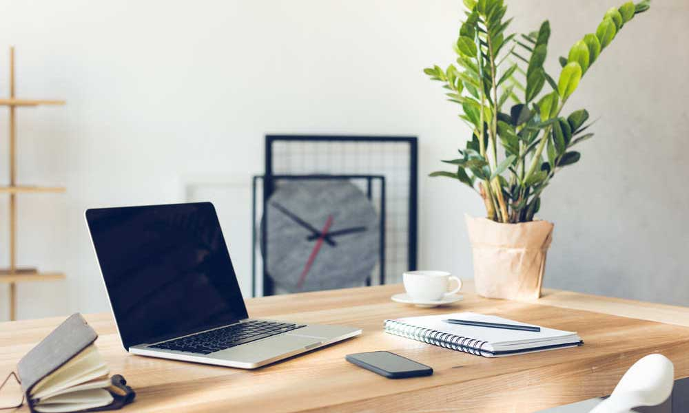 Bố trí cây xanh trên bàn làm việc